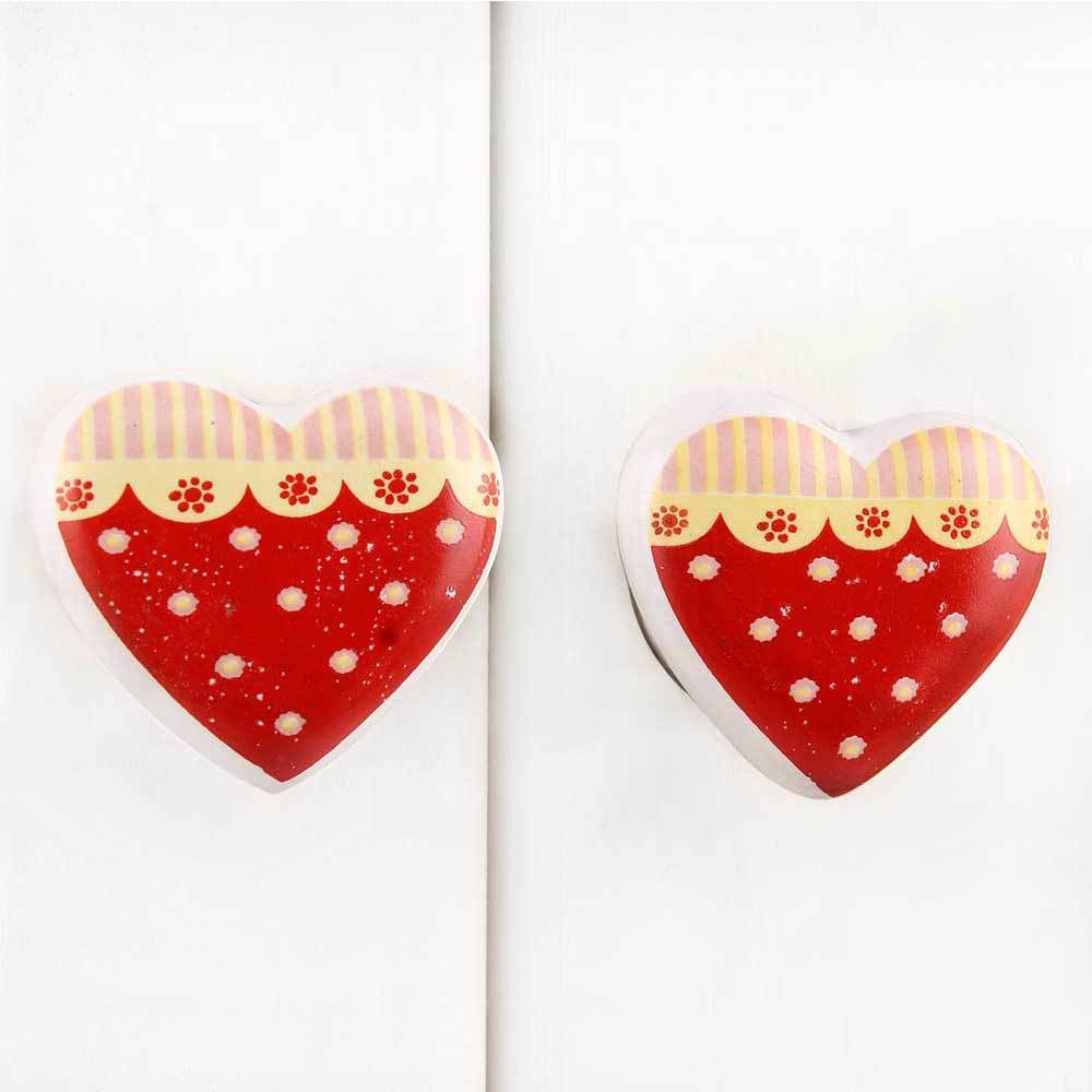 IndianShelf Handmade 20 Piece Ceramic Red Heart Artistic Drawer Knobs/Cabinet Pulls
