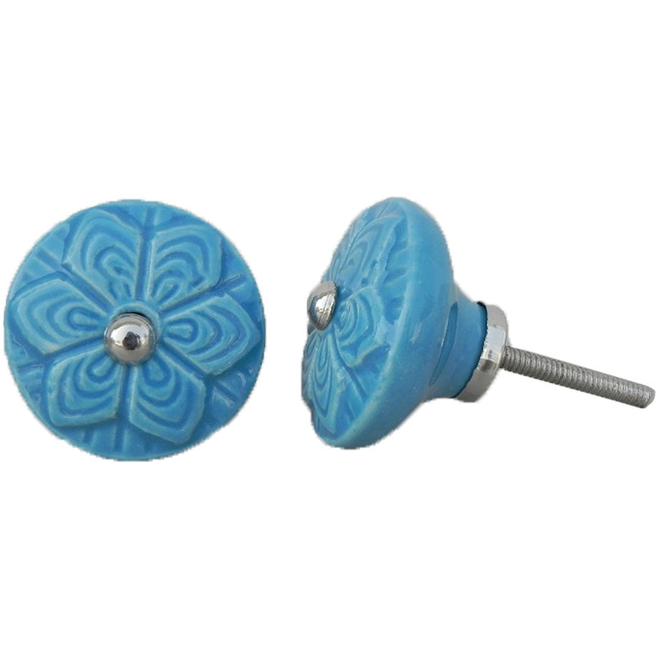 IndianShelf Handmade 20 Piece Ceramic Blue Wheel Flower Artistic Drawer Knobs/Cabinet Pulls