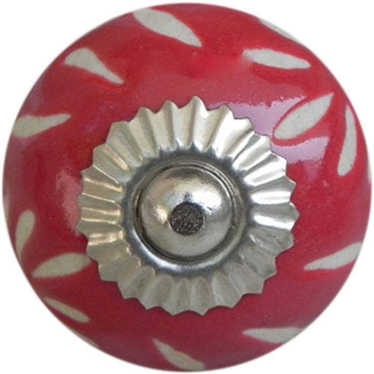 IndianShelf Handmade 20 Piece Ceramic Red Etched Artistic Drawer Knobs/Cabinet Pulls