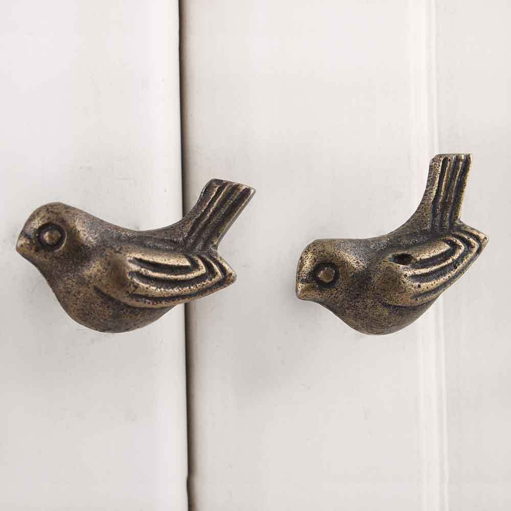 IndianShelf Handmade 20 Piece Iron Golden Bird Artistic Drawer Knobs/Cabinet Pulls