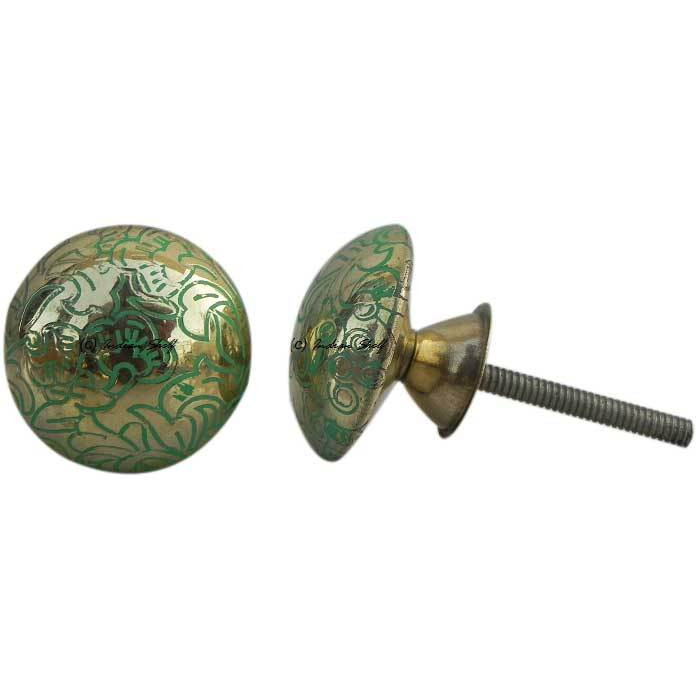 IndianShelf Handmade 20 Piece Brass Green Floral Artistic Drawer Knobs/Cabinet Pulls
