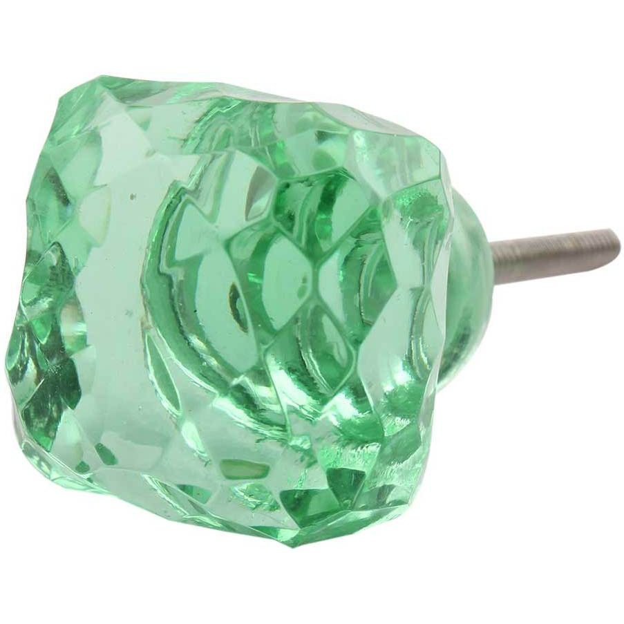 IndianShelf Handmade 20 Piece Glass Green Square Cut Artistic Drawer Knobs/Cabinet Pulls