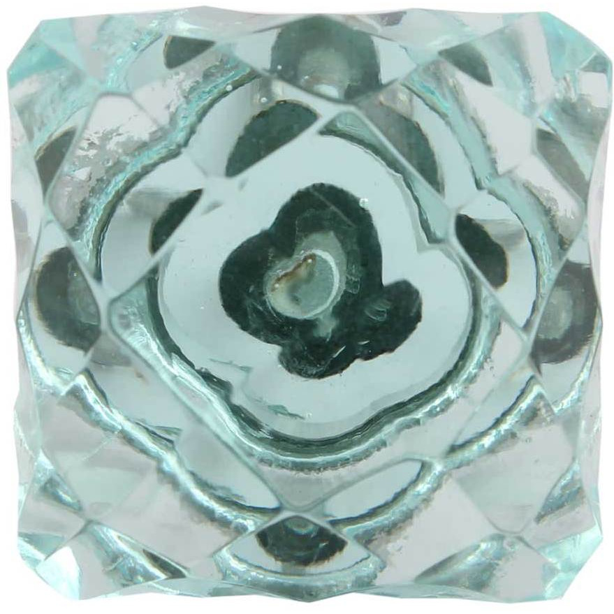 IndianShelf Handmade 20 Piece Glass Turquoise Square Cut Artistic Drawer Knobs/Cabinet Pulls