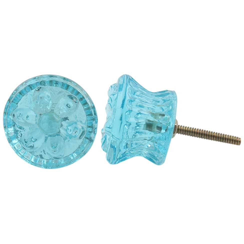 IndianShelf Handmade 20 Piece Glass Turquoise Drum Artistic Drawer Knobs/Cabinet Pulls