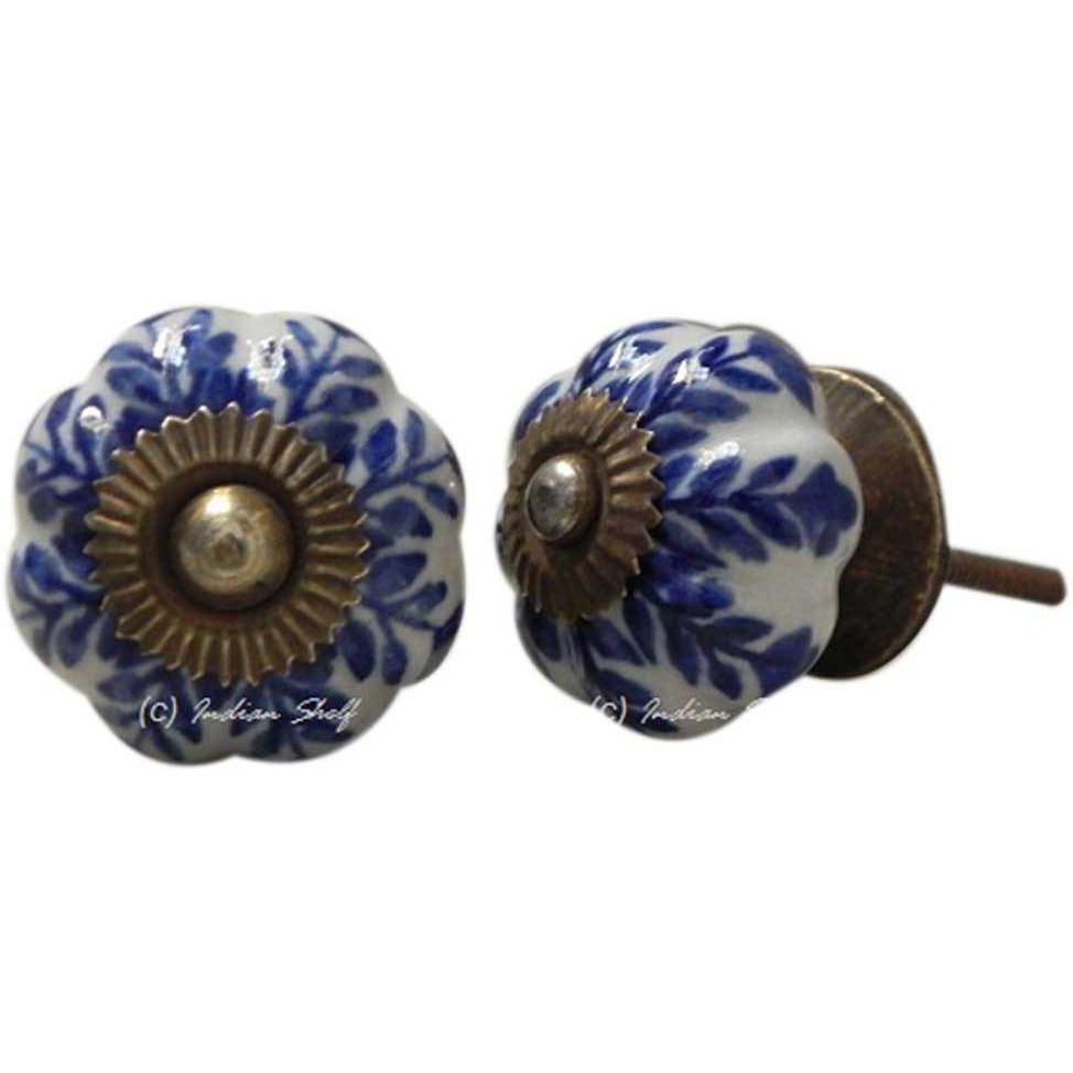 IndianShelf Handmade 20 Piece Ceramic Blue Leaf Artistic Drawer Knobs/Cabinet Pulls