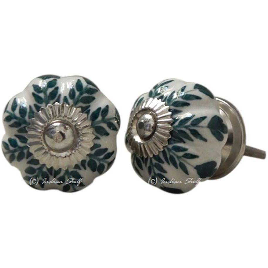IndianShelf Handmade 20 Piece Ceramic Green Leaf Decorative Room Drawer Knobs/Cabinet Door Pulls