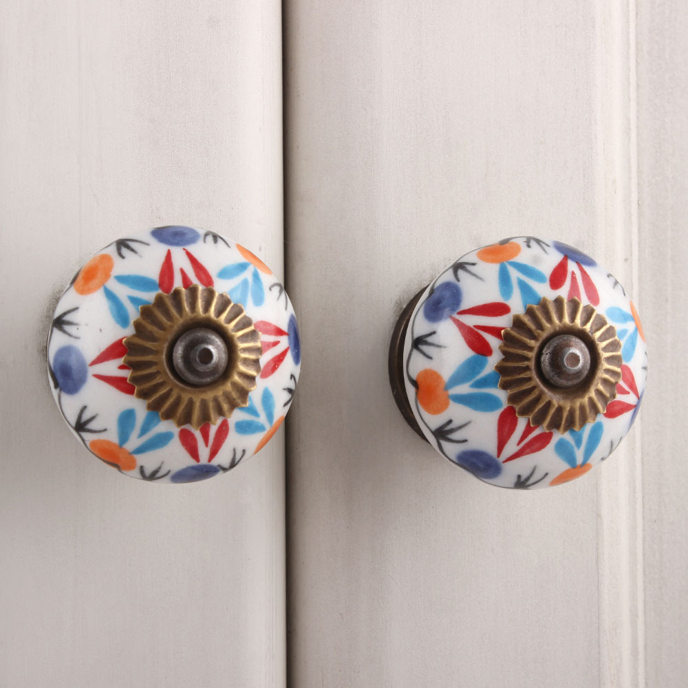 IndianShelf Handmade 20 Piece Ceramic Red Clover Artistic Drawer Knobs/Cabinet Pulls