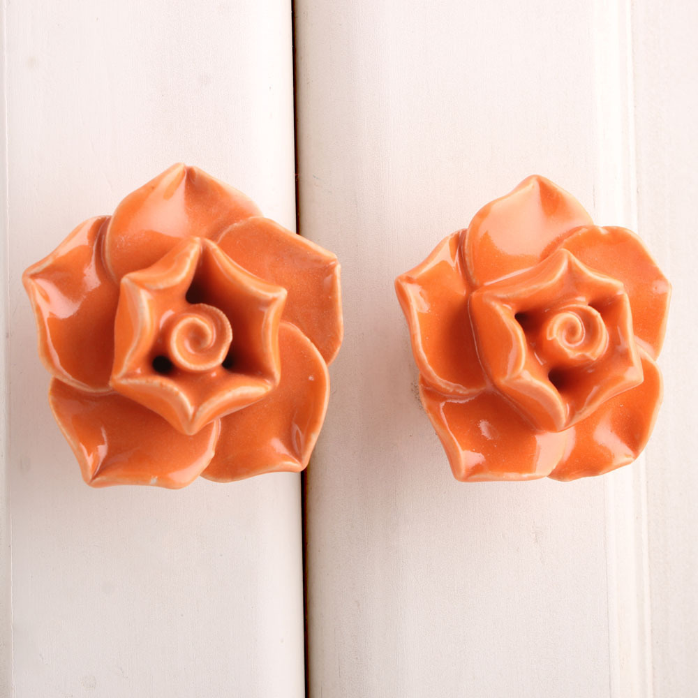 IndianShelf Handmade 20 Piece Ceramic Orange Rose Artistic Drawer Knobs/Cabinet Pulls