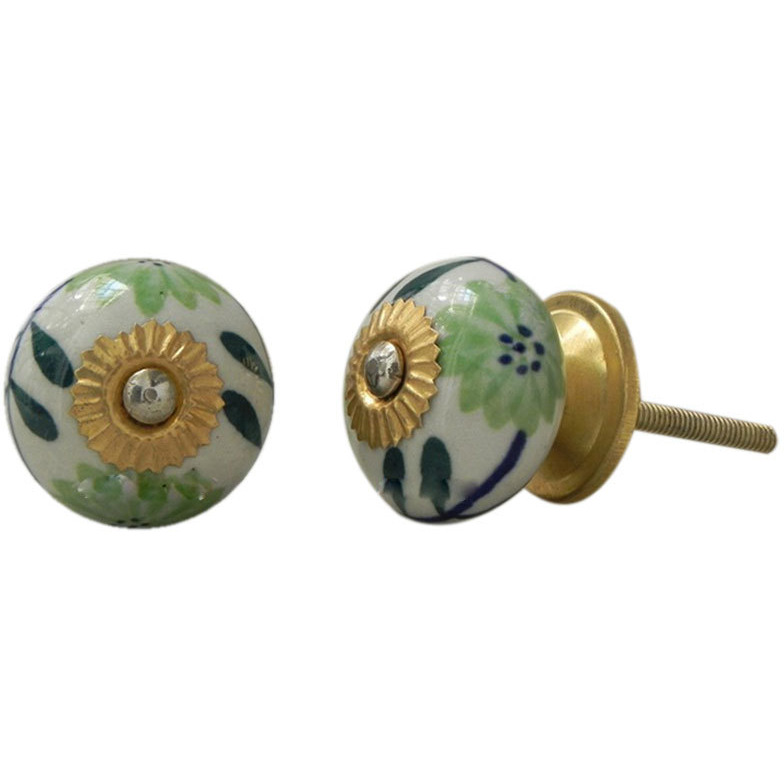 IndianShelf Handmade 20 Piece Ceramic Multicolor Anemone Artistic Drawer Knobs/Cabinet Pulls