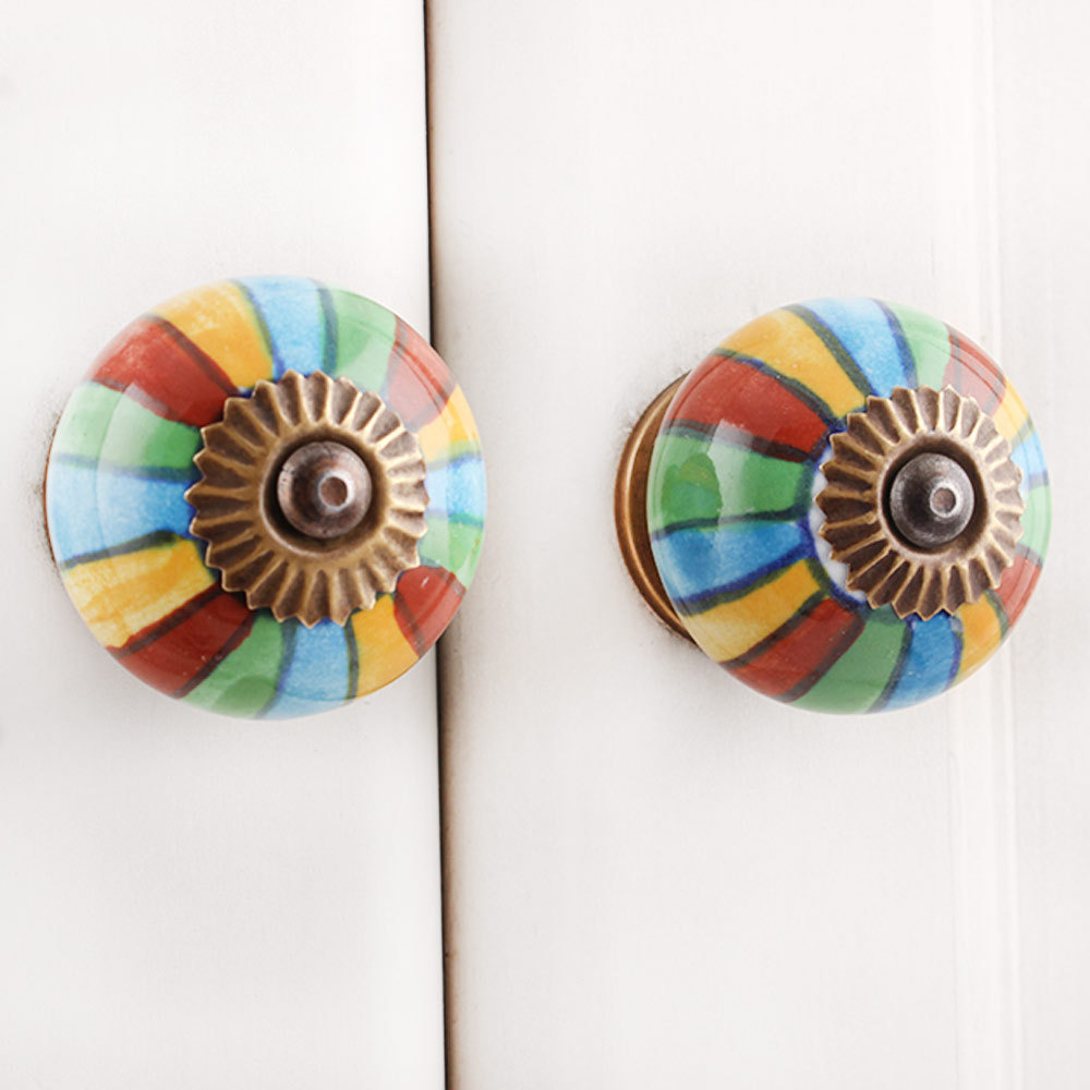 IndianShelf Handmade 20 Piece Ceramic Multicolor Stripe Artistic Drawer Knobs/Cabinet Pulls
