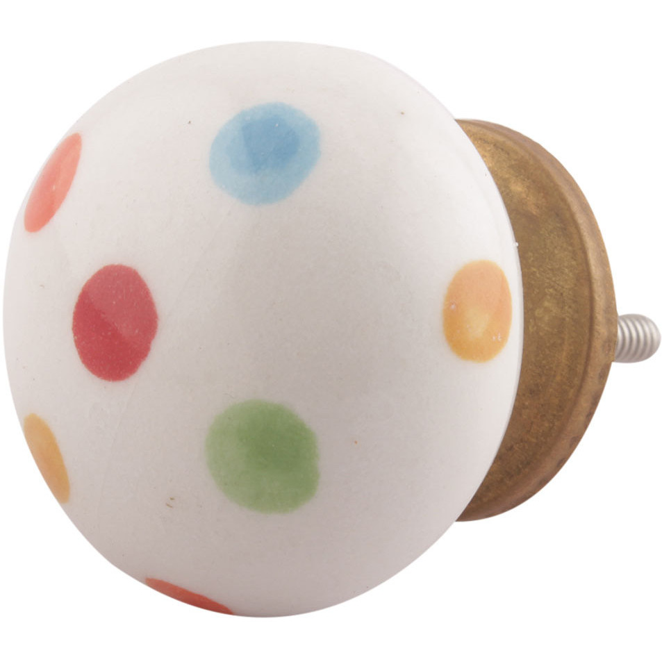 IndianShelf Handmade 3 Piece Ceramic Multicolor Polka Dot Vintage Furniture Drawer Knobs/Wardrobe Door Pulls