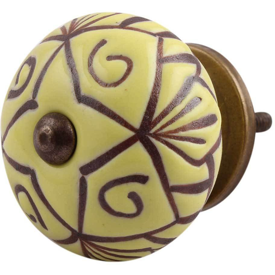 IndianShelf Handmade 3 Piece Ceramic Yellow Etched Vintage Furniture Drawer Knobs/Wardrobe Door Pulls
