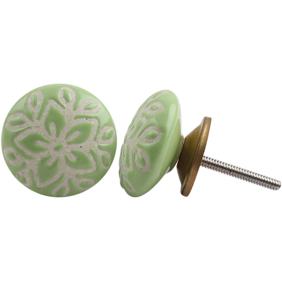 IndianShelf Handmade 3 Piece Ceramic Green Etched Vintage Furniture Drawer Knobs/Wardrobe Door Pulls