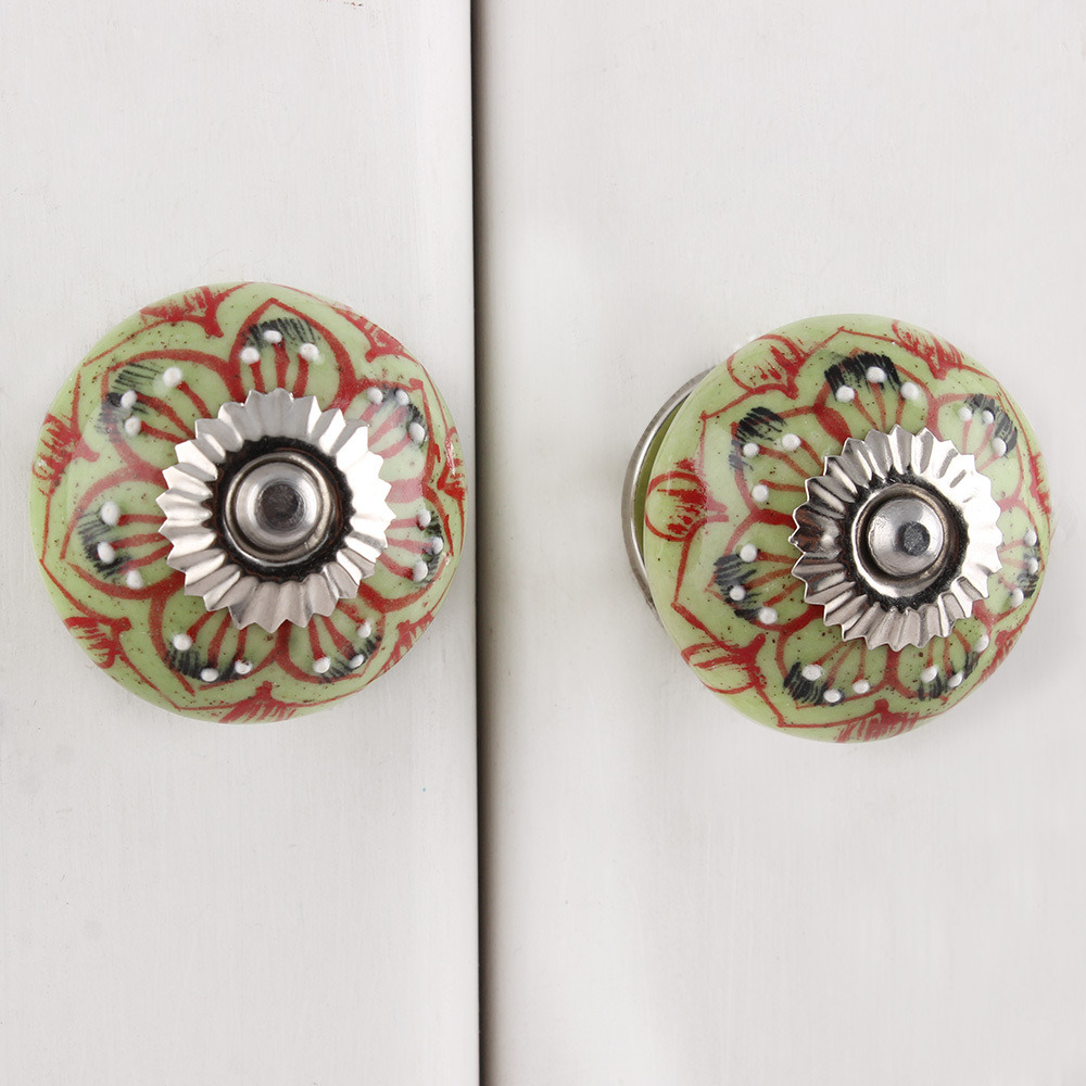 IndianShelf Handmade 3 Piece Ceramic Red Leaf Floral Designer Drawer Door Knobs/Cabinet Pulls