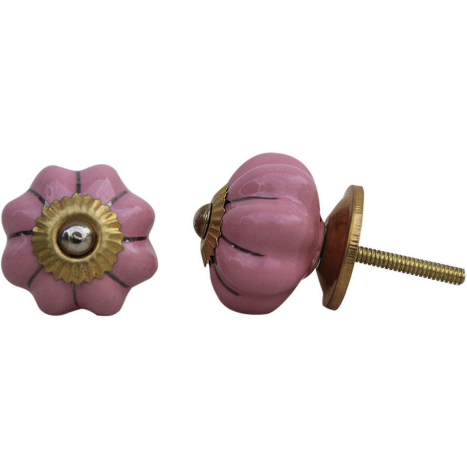 IndianShelf Handmade 3 Piece Ceramic Pink Solid Vintage Furniture Drawer Knobs/Wardrobe Door Pulls