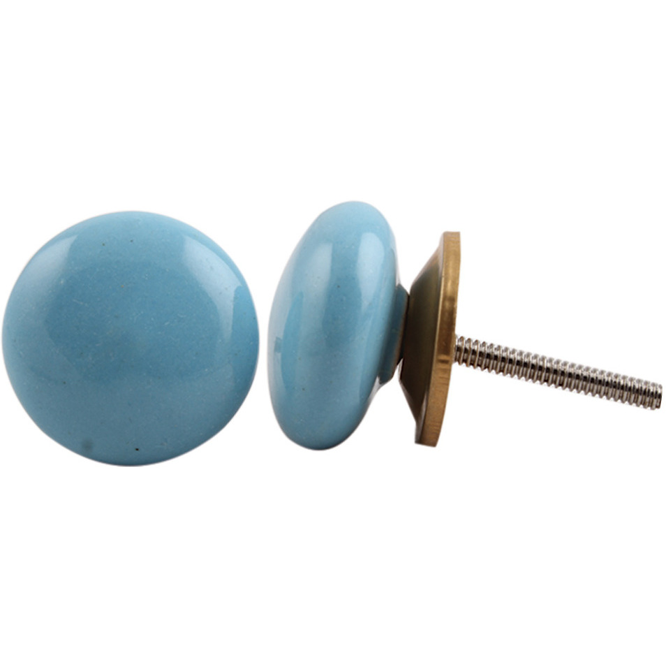 IndianShelf Handmade 3 Piece Ceramic Turquoise Flat Solid Vintage Furniture Drawer Knobs/Wardrobe Door Pulls