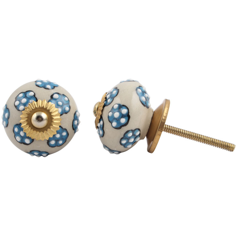 IndianShelf Handmade 3 Piece Ceramic Turquoise Tiny Floral Vintage Furniture Drawer Knobs/Wardrobe Door Pulls