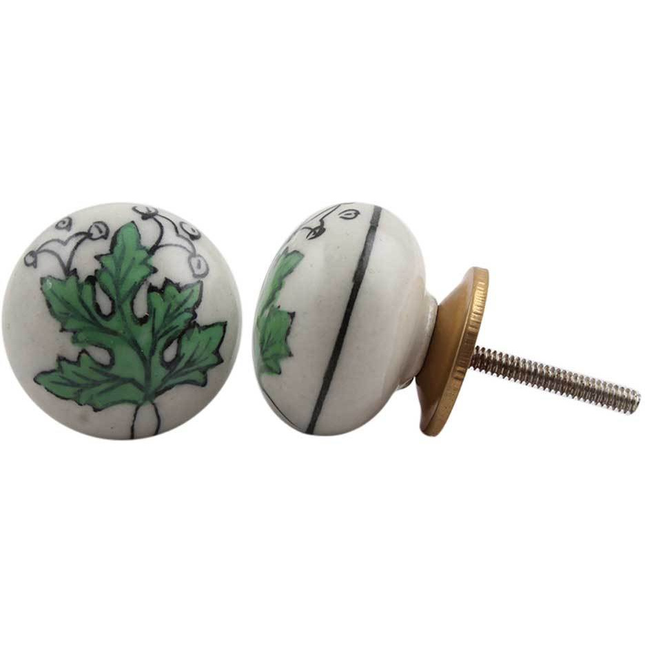 IndianShelf Handmade 3 Piece Ceramic Green Leaf Flat Vintage Furniture Drawer Knobs/Wardrobe Door Pulls
