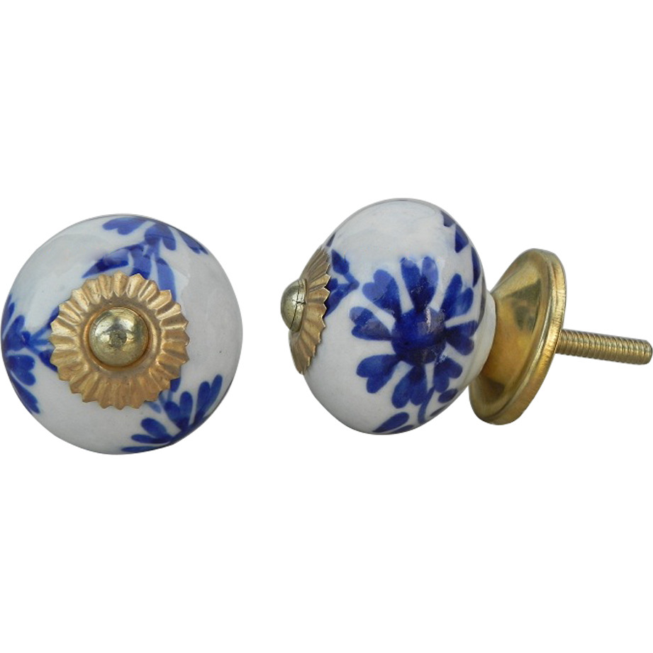 IndianShelf Handmade 3 Piece Ceramic Blue Floral Vintage Furniture Drawer Knobs/Wardrobe Door Pulls