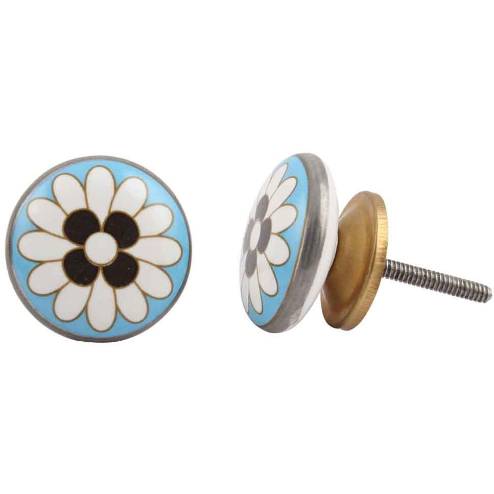 IndianShelf Handmade 3 Piece Ceramic Blue Round Flat Flower Vintage Furniture Drawer Knobs/Wardrobe Door Pulls