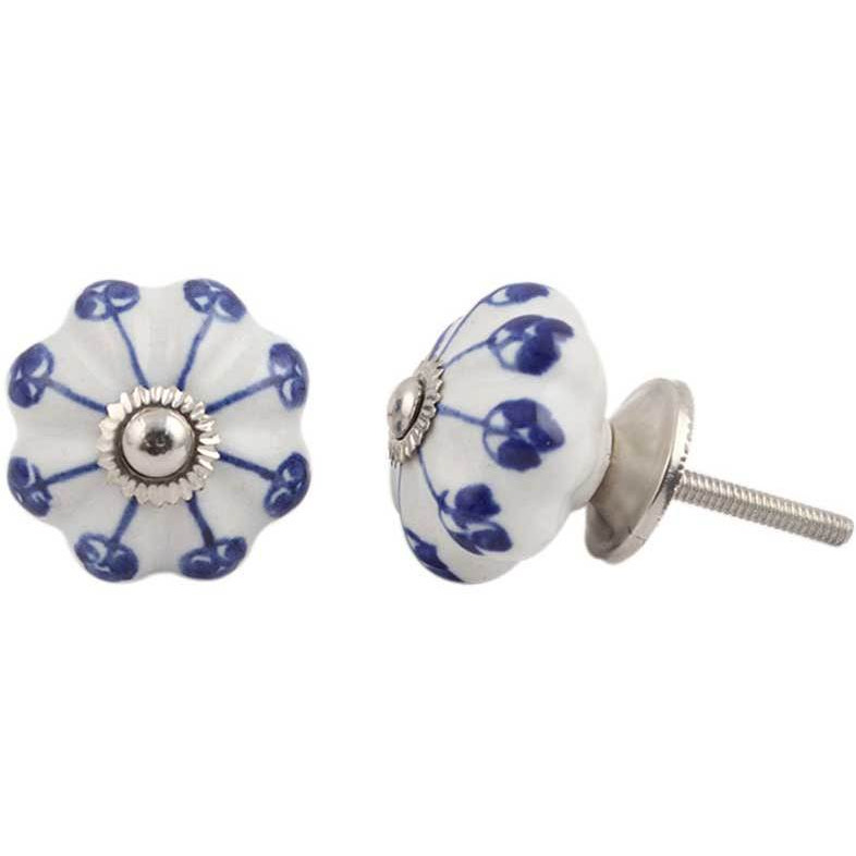 IndianShelf Handmade 3 Piece Ceramic Blue Flower Vintage Furniture Drawer Knobs/Wardrobe Door Pulls