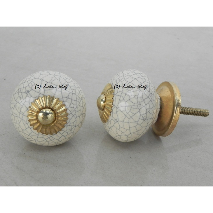 IndianShelf Handmade 3 Piece Ceramic Cream Crackle Vintage Furniture Drawer Knobs/Wardrobe Door Pulls