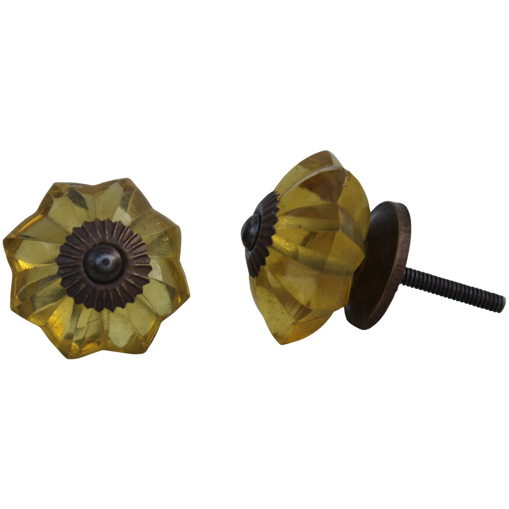 IndianShelf Handmade 3 Piece Glass Golden Marigold Flower Vintage Furniture Drawer Knobs/Wardrobe Door Pulls