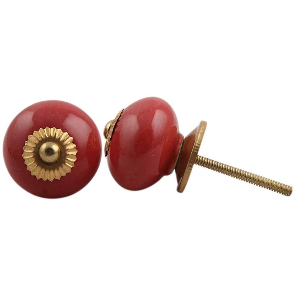 IndianShelf Handmade 3 Piece Ceramic Red Solid Vintage Furniture Drawer Knobs/Wardrobe Door Pulls