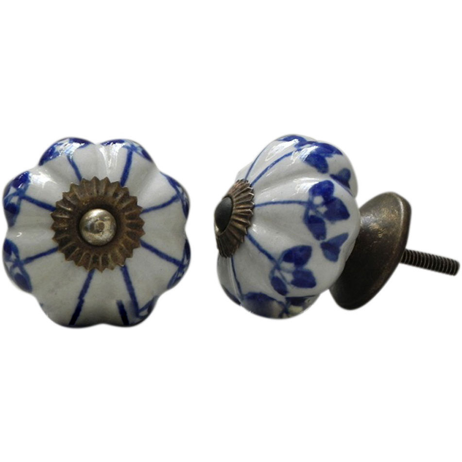 IndianShelf Handmade 3 Piece Ceramic Blue Shamrock Vintage Furniture Drawer Knobs/Wardrobe Door Pulls