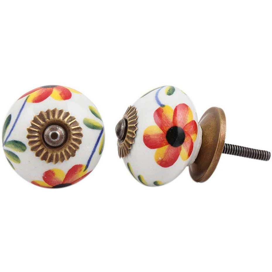 IndianShelf Handmade 5 Piece Ceramic Multicolor Daffodil Flower Rust Free Drawer Kitchen Knobs/Cabinet Pulls