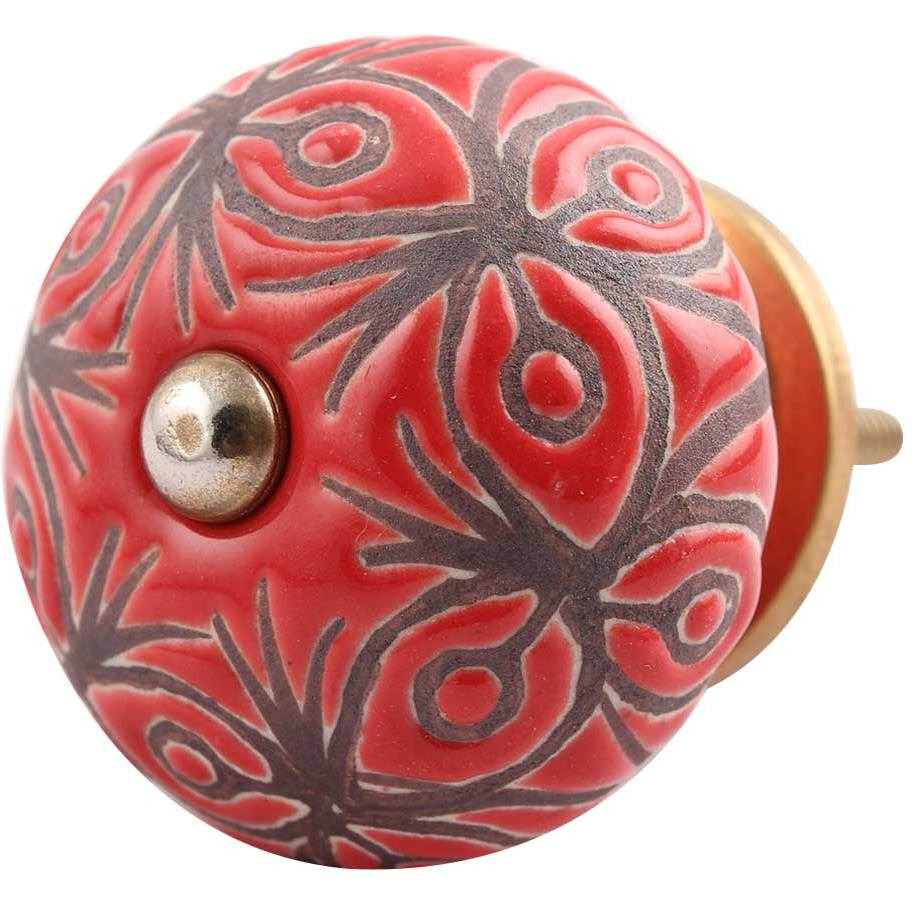 IndianShelf Handmade 9 Piece Ceramic Red Floral Etched Vintage Dresser Knobs/Cabinet Kitchen Pulls