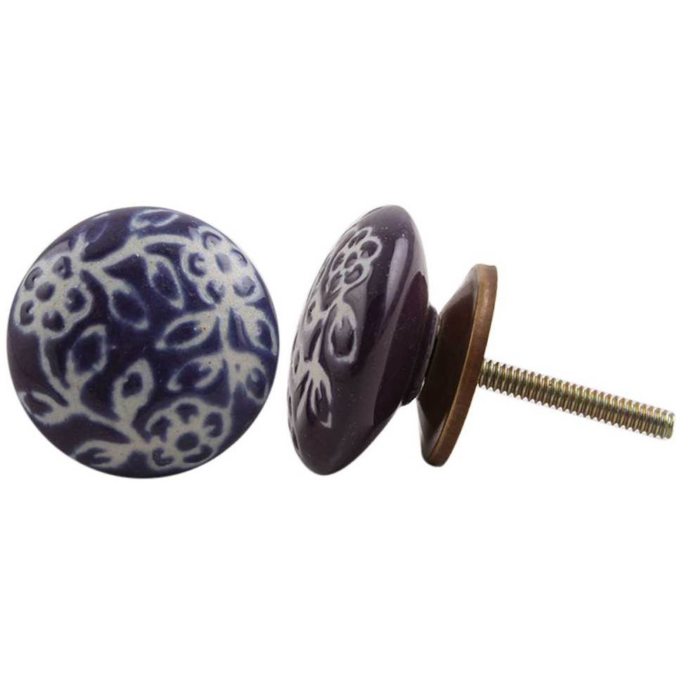 IndianShelf Handmade 9 Piece Ceramic Purple Etched Rust Free Drawer Kitchen Knobs/Cabinet Pulls