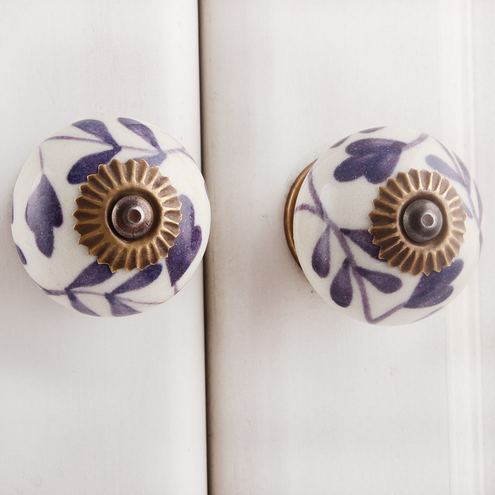IndianShelf Handmade 9 Piece Ceramic Purple Flower Rust Free Drawer Kitchen Knobs/Cabinet Pulls