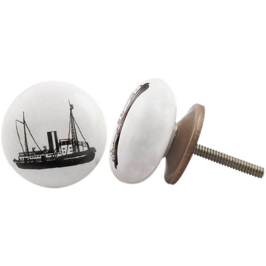 IndianShelf Handmade 11 Piece Ceramic White Ship Flat Vehicle Designer Drawer Door Knobs/Cabinet Pulls