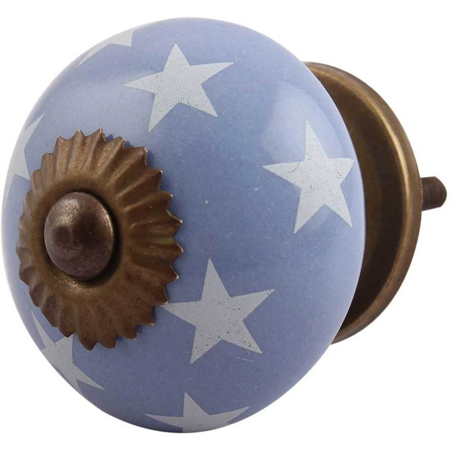 IndianShelf Handmade 13 Piece Ceramic Blue Star Antique Look Drawer Room Knobs/Dresser Door Pulls