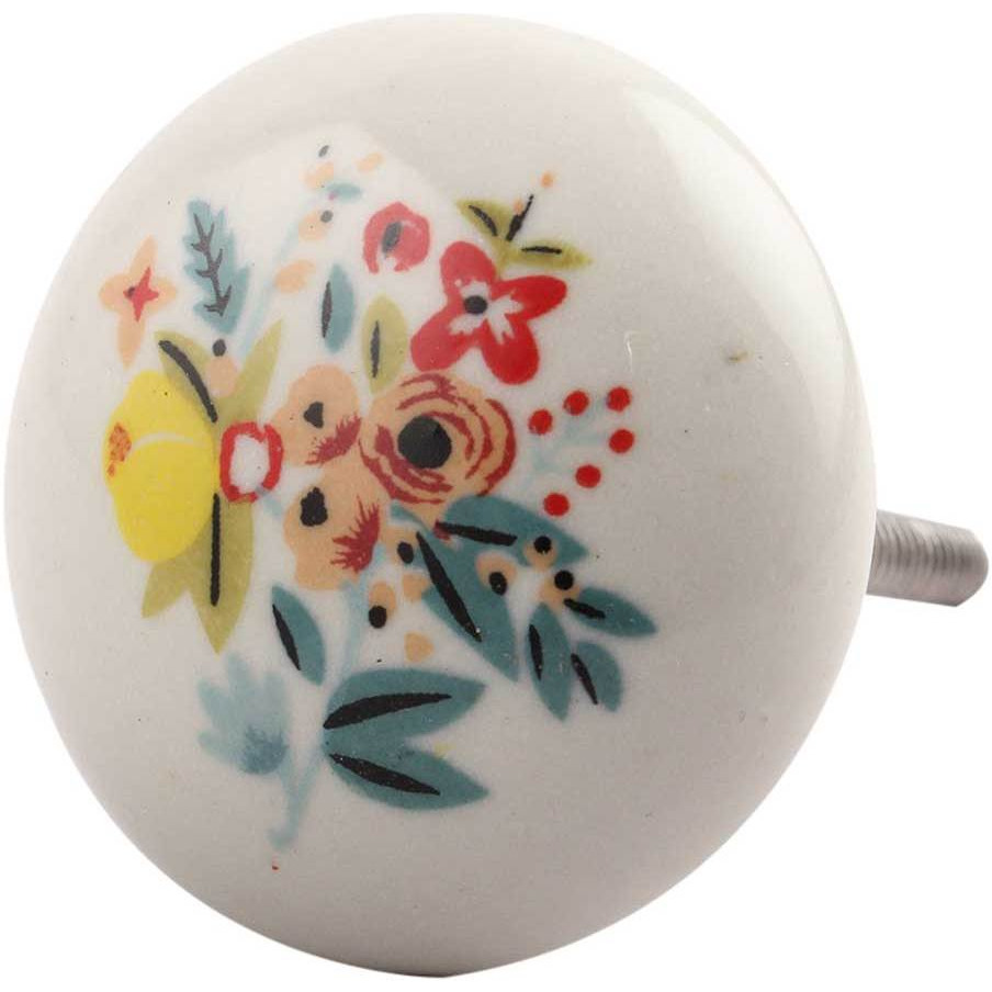 IndianShelf Handmade 13 Piece Ceramic Multicolor Flat Floral Rust Free Drawer Kitchen Knobs/Cabinet Pulls