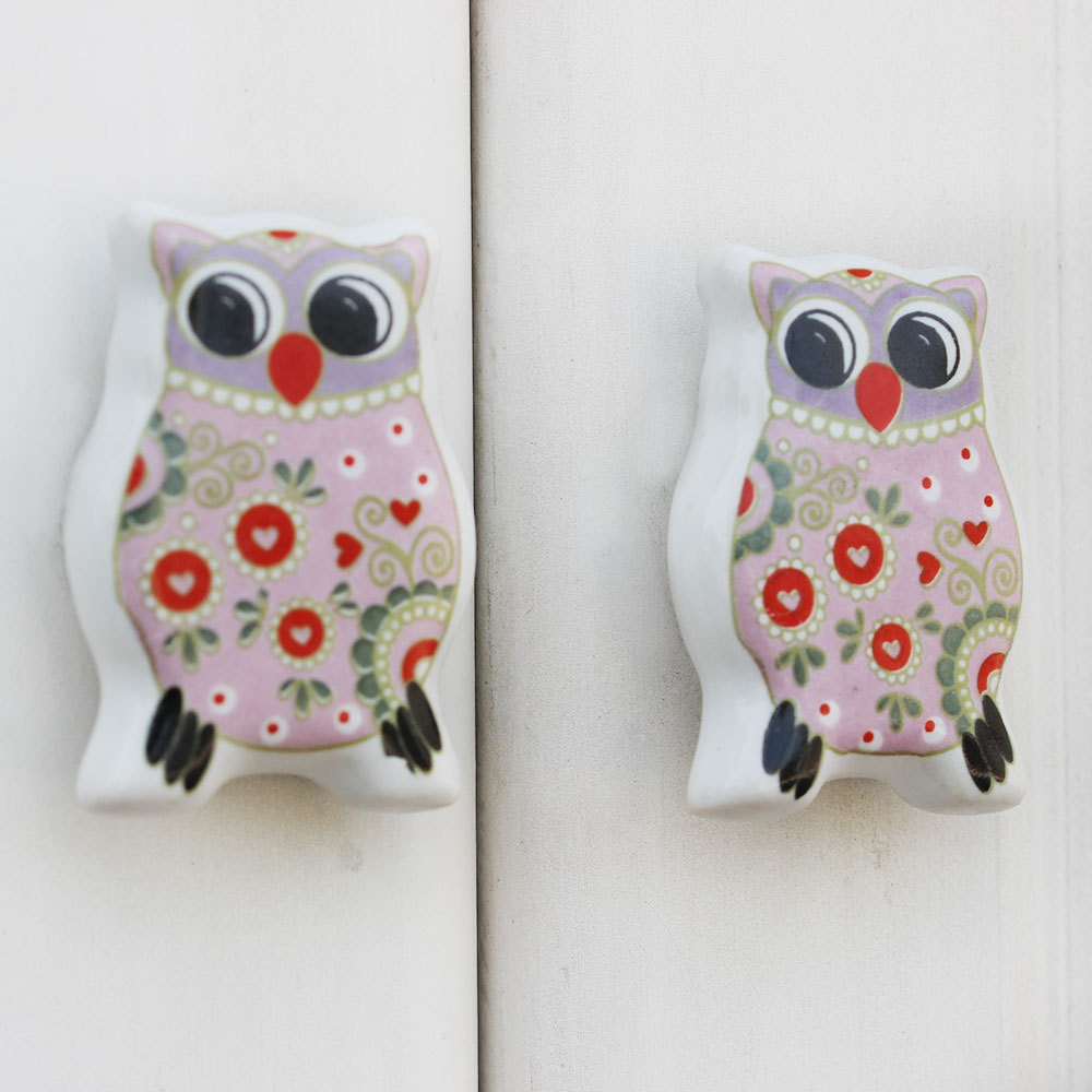 IndianShelf Handmade 13 Piece Ceramic Multicolor Owl Fauna Flat Rust Free Drawer Kitchen Knobs/Cabinet Pulls