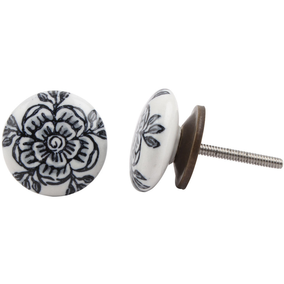 IndianShelf Handmade 13 Piece Ceramic Grey Rose Flat Antique Look Drawer Room Knobs/Dresser Door Pulls