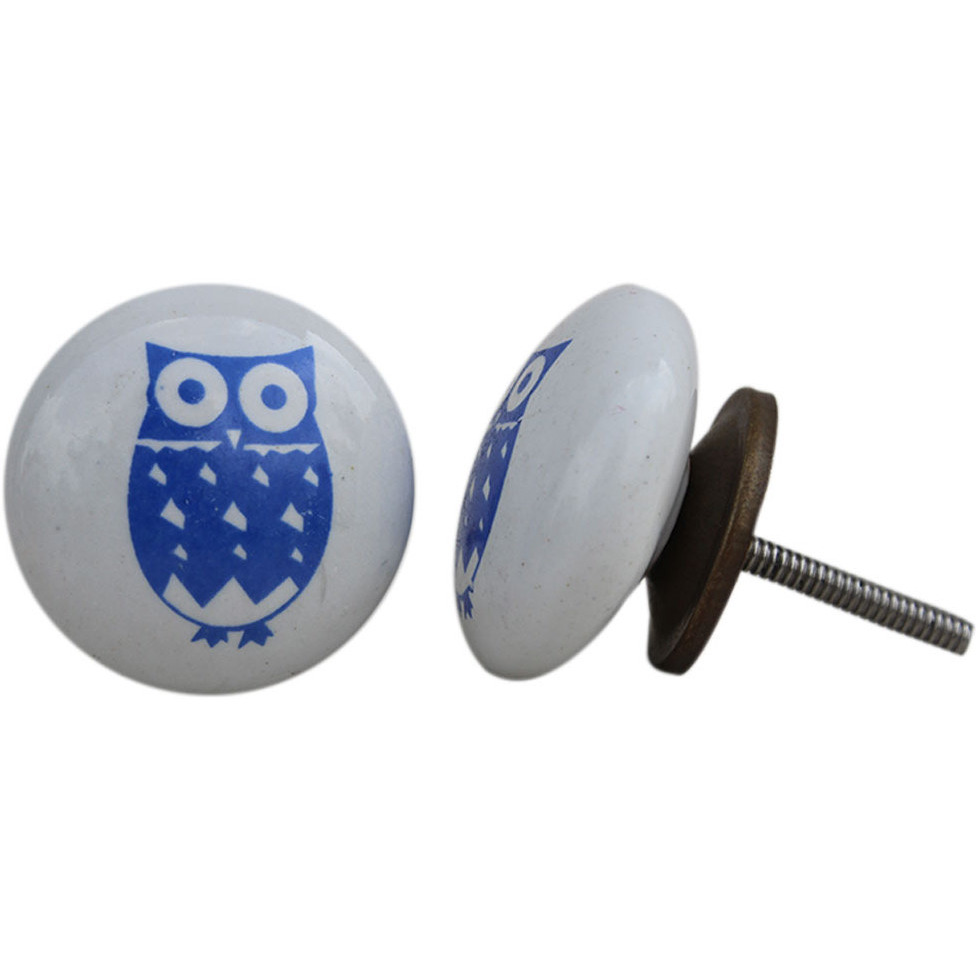IndianShelf Handmade 13 Piece Ceramic Blue Owl Flat Kid Rust Free Drawer Kitchen Knobs/Cabinet Pulls