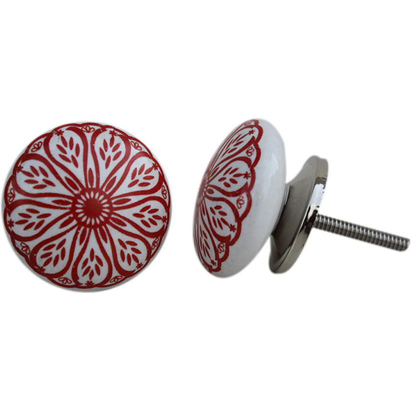 IndianShelf Handmade 13 Piece Ceramic Red Daisy Flat Rust Free Drawer Kitchen Knobs/Cabinet Pulls