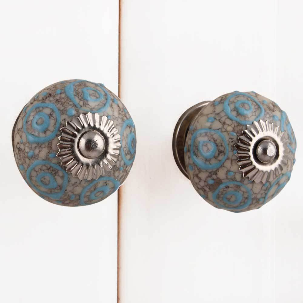 IndianShelf Handmade 13 Piece Ceramic Blue Circles Crackle Rust Free Drawer Kitchen Knobs/Cabinet Pulls