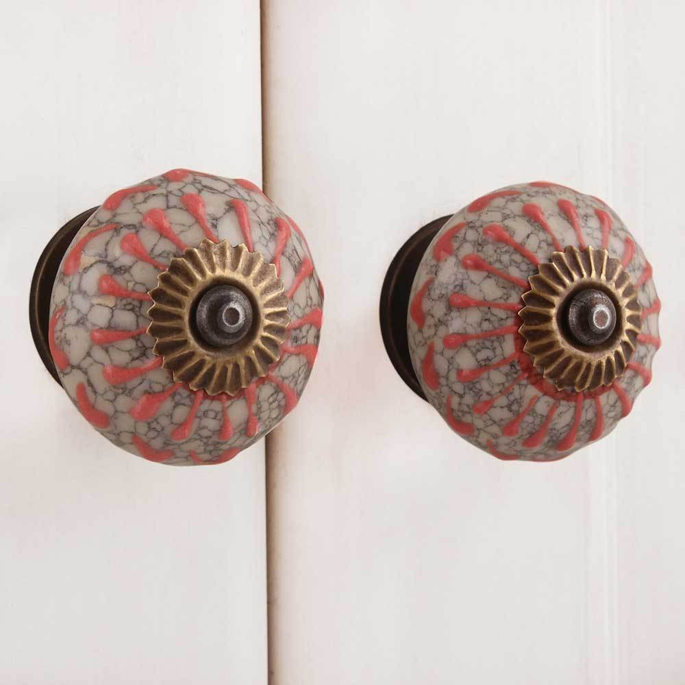 IndianShelf Handmade 13 Piece Ceramic Peach Wheel Crackle Antique Look Drawer Room Knobs/Dresser Door Pulls