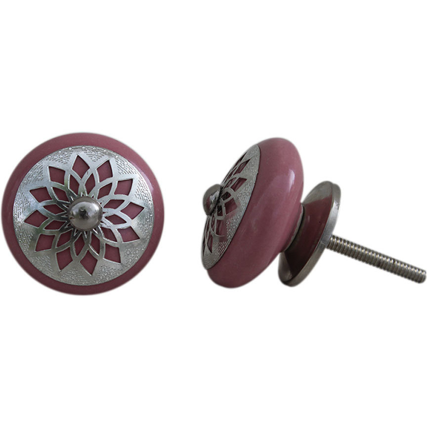 IndianShelf Handmade 13 Piece Ceramic Pink Strewn Flat Antique Look Drawer Room Knobs/Dresser Door Pulls