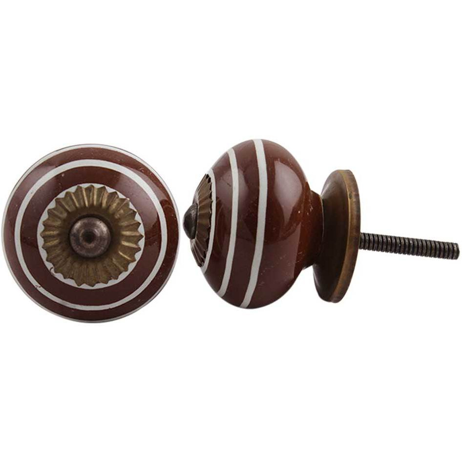 IndianShelf Handmade 13 Piece Ceramic Cherry Stripe Antique Look Drawer Room Knobs/Dresser Door Pulls