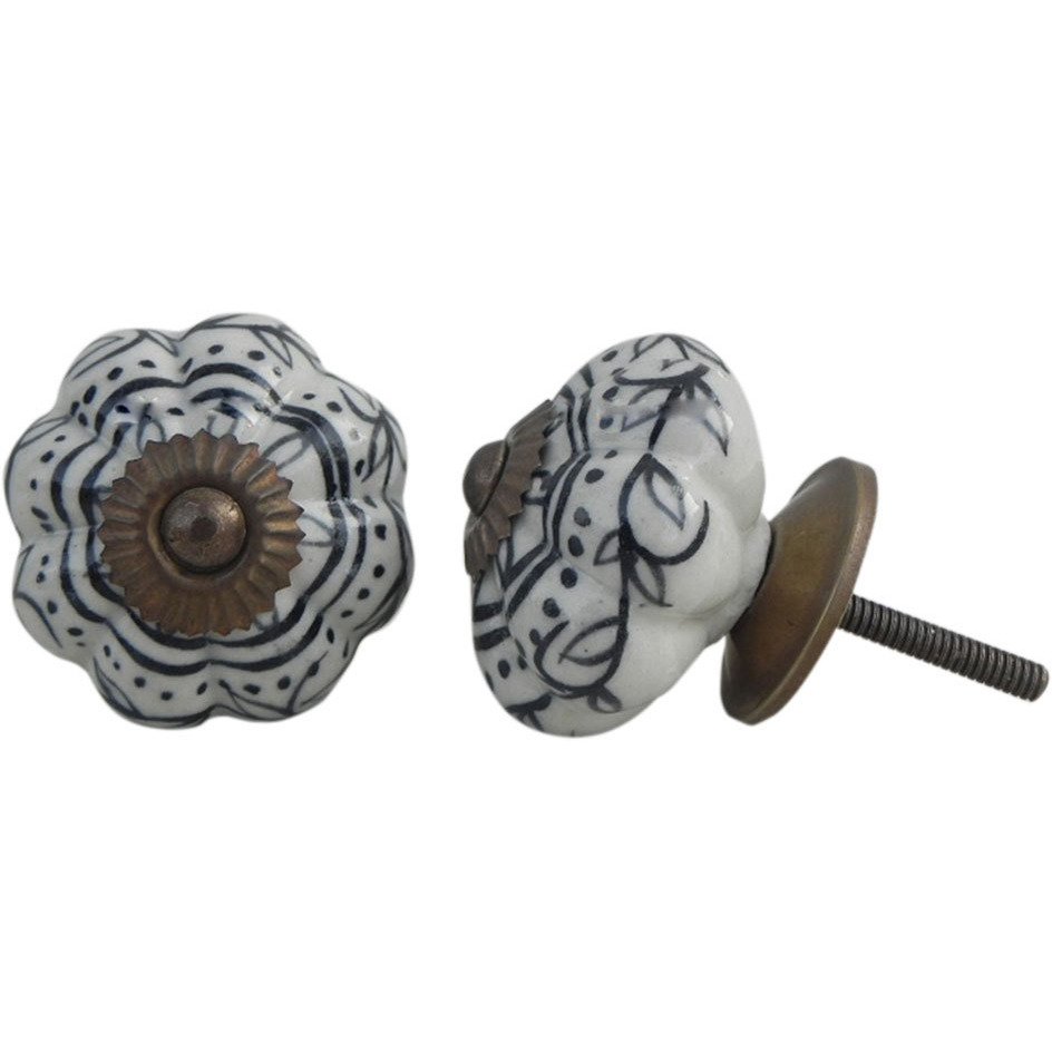 IndianShelf Handmade 13 Piece Ceramic Black Leaf Melon Antique Look Drawer Room Knobs/Dresser Door Pulls