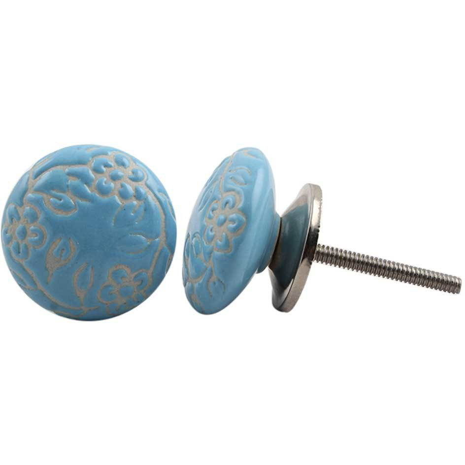 IndianShelf Handmade 13 Piece Ceramic Turquoise Flat Etched Antique Look Drawer Room Knobs/Dresser Door Pulls