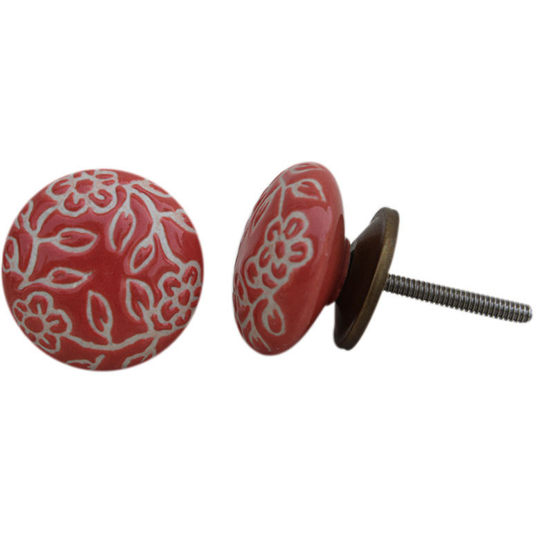 IndianShelf Handmade 13 Piece Ceramic Red Etched Rust Free Drawer Kitchen Knobs/Cabinet Pulls