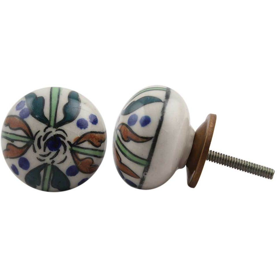 IndianShelf Handmade 13 Piece Ceramic Multicolor Trisul Flat Rust Free Drawer Kitchen Knobs/Cabinet Pulls