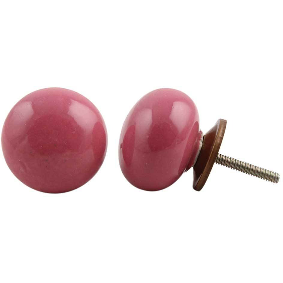 IndianShelf Handmade 13 Piece Ceramic Pink Flat Solid Rust Free Drawer Kitchen Knobs/Cabinet Pulls