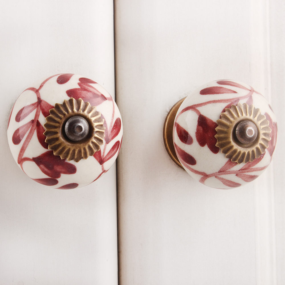 IndianShelf Handmade 13 Piece Ceramic Cherry Flower Rust Free Drawer Kitchen Knobs/Cabinet Pulls